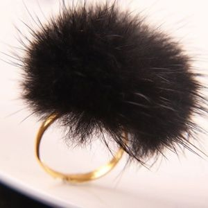Jewelry - New, pink and black furry pom pom rings